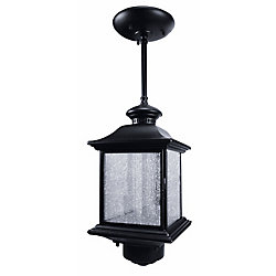 Heath Zenith 360 Degree Pendant Light with Clear Seeded Glass - Black