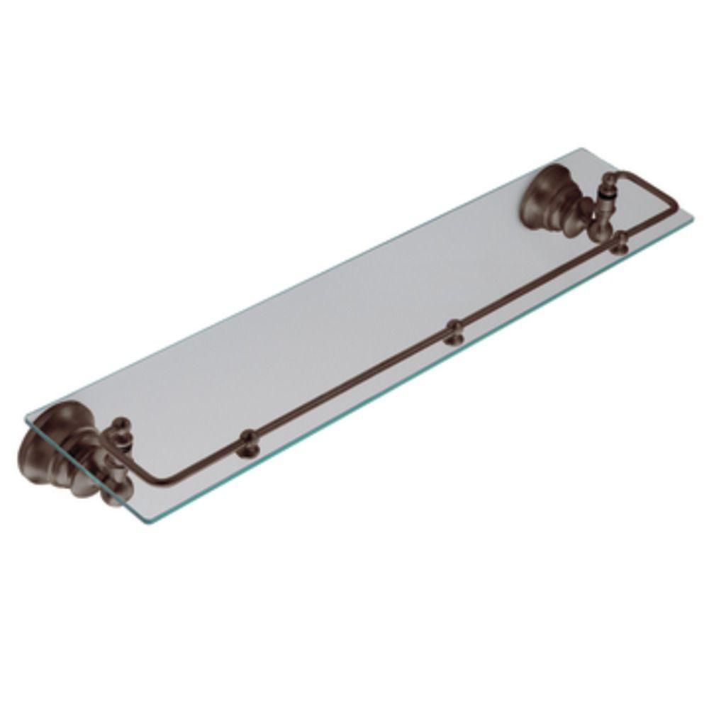 Étagère en verre avec rail pivotant, Bronze huilé, Waterhill