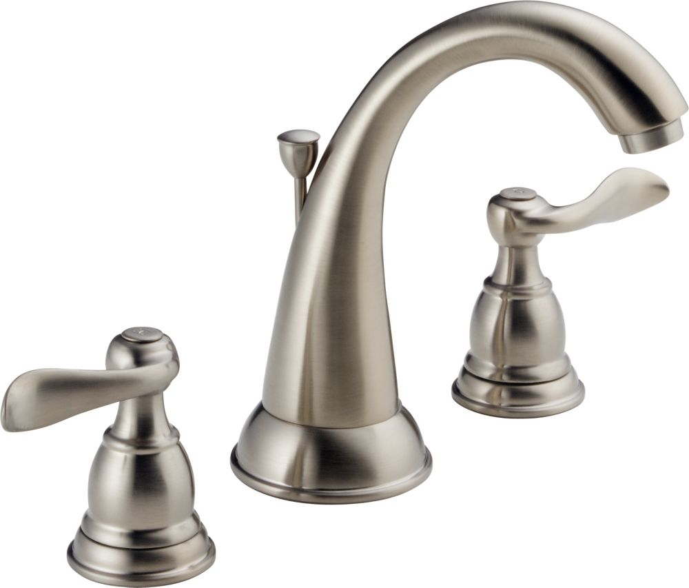 Foundations 8-inch Widespread 2-Handle High-Arc Bathroom Faucet in Stainless Finish