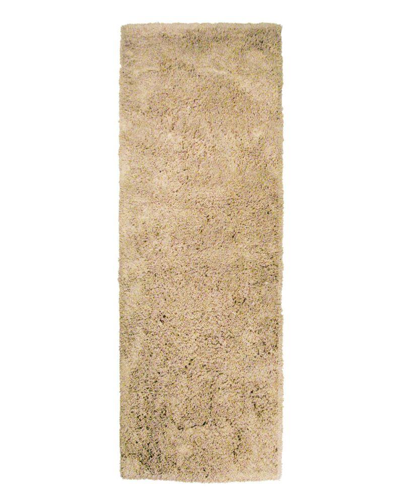 Lanart Rug Kashmir Beige Tan 2 ft. 6-inch x 8 ft. Indoor Shag Runner