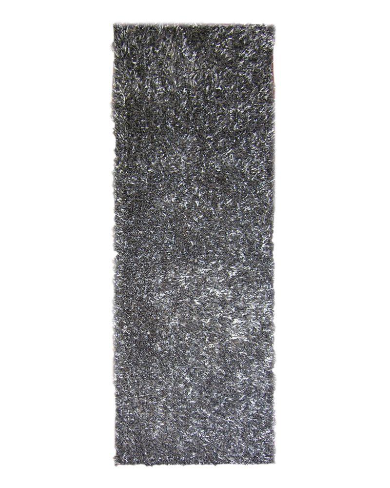Charcoal Ribbon Shag Area Rug 2 Feet 6 Inches x 8 Feet
