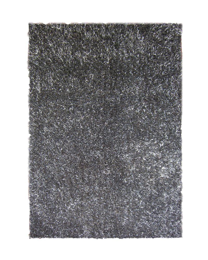 Charcoal Ribbon Shag Area Rug 5 Feet x 7 Feet 6 Inches