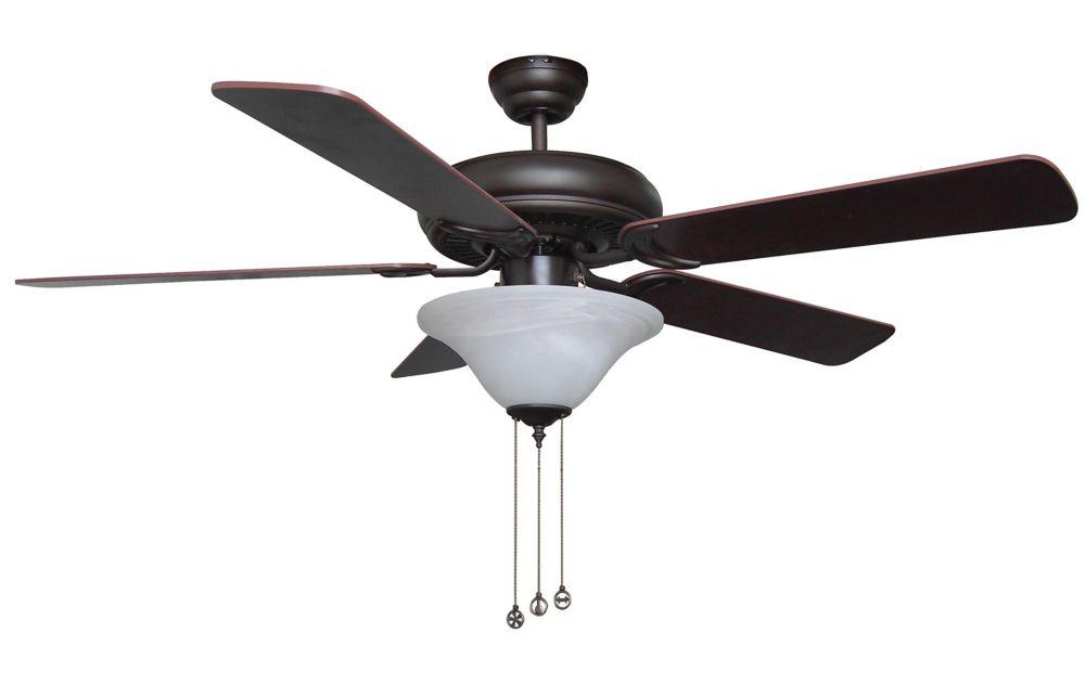 Pacific Wind 52 inch Oil Rubbed Bronze Ceiling Fan, 2 x 13W GU24 Bulbs Included, Reversible Blade...