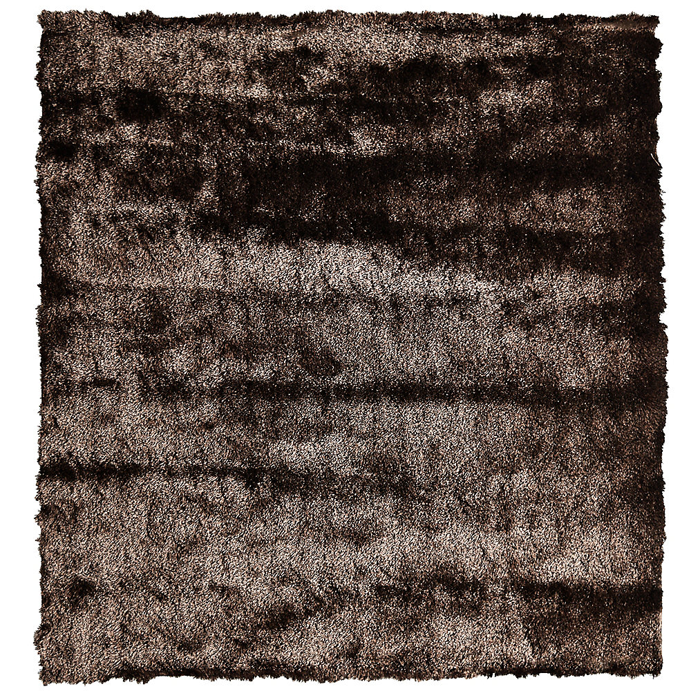 So Silky Brown 5 ft. x 5 ft. Indoor Shag Square Area Rug