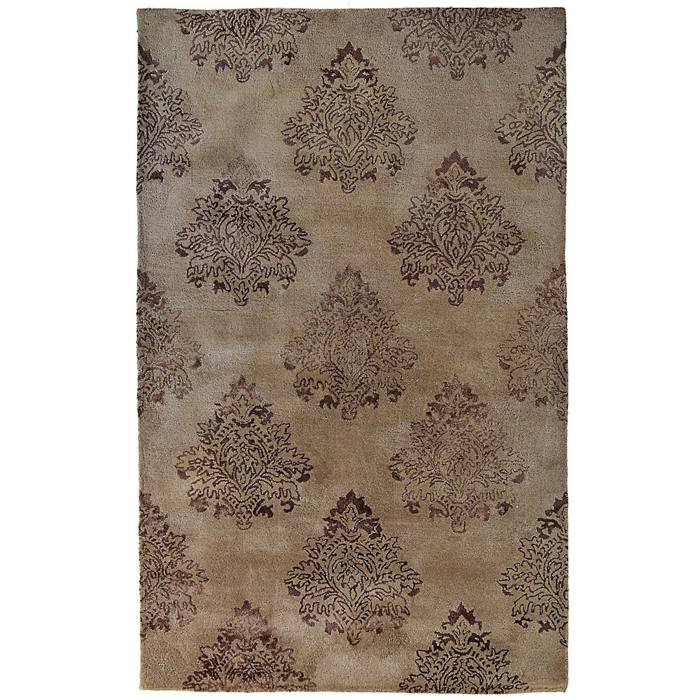 Taj Mahal Brown 4 ft. x 6 ft. Indoor Transitional Rectangular Area Rug