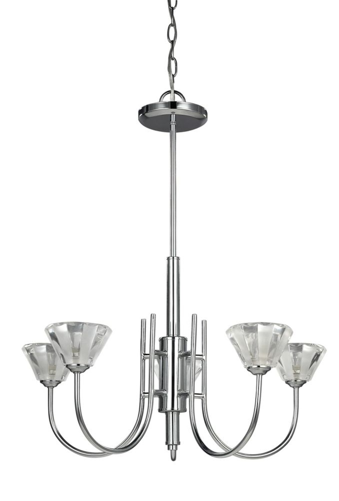 MACY 5 Light Chrome Chandelier, Clear Crystal Glass