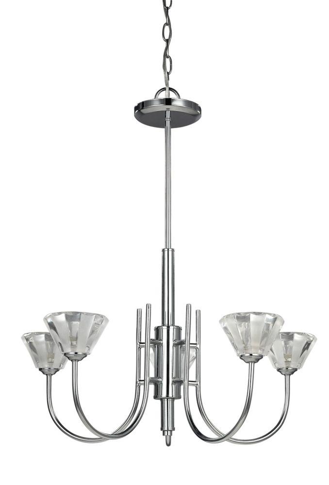 MACY lustre léger du chrome cinq lumiere, verre cristal d'espace libre