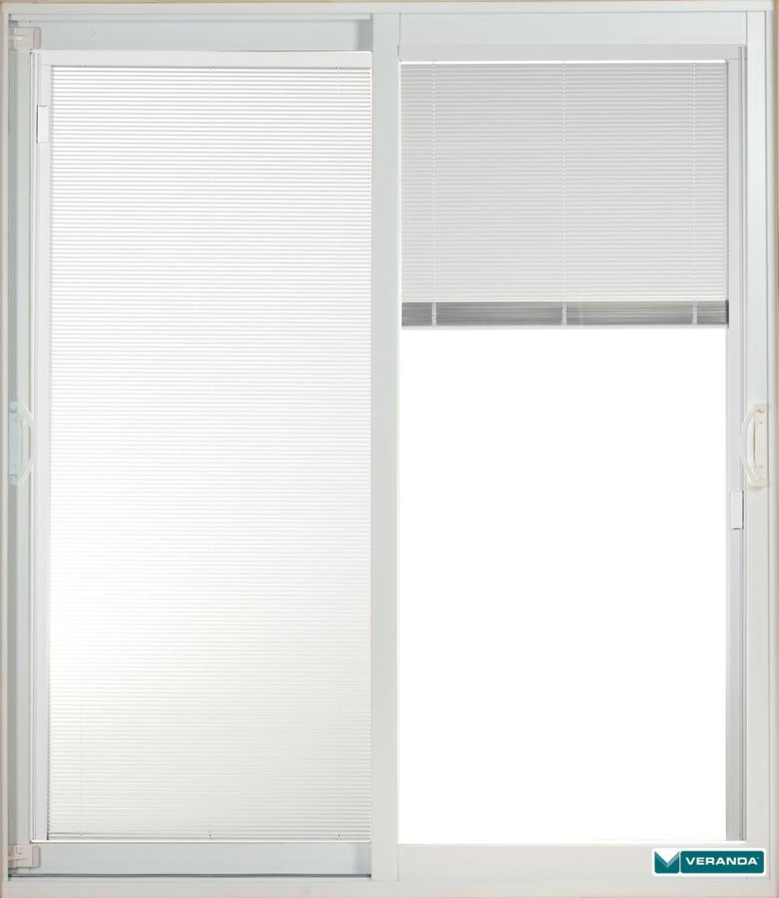 5 Feet Double Sliding Patio Door with Internal Blinds - 7 1/4 Jamb