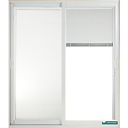 Veranda 59.75 inch x 79.75 inch Clear LowE Prefinished White Double Sliding Vinyl Patio Door with 7-1/4 inch Jamb and Internal Mini Blinds - ENERGY STAR®