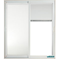 59.75 inch x 79.75 inch Clear LowE Prefinished White Double Sliding Vinyl Patio Door with 7-1/4 inch Jamb and Internal Mini Blinds