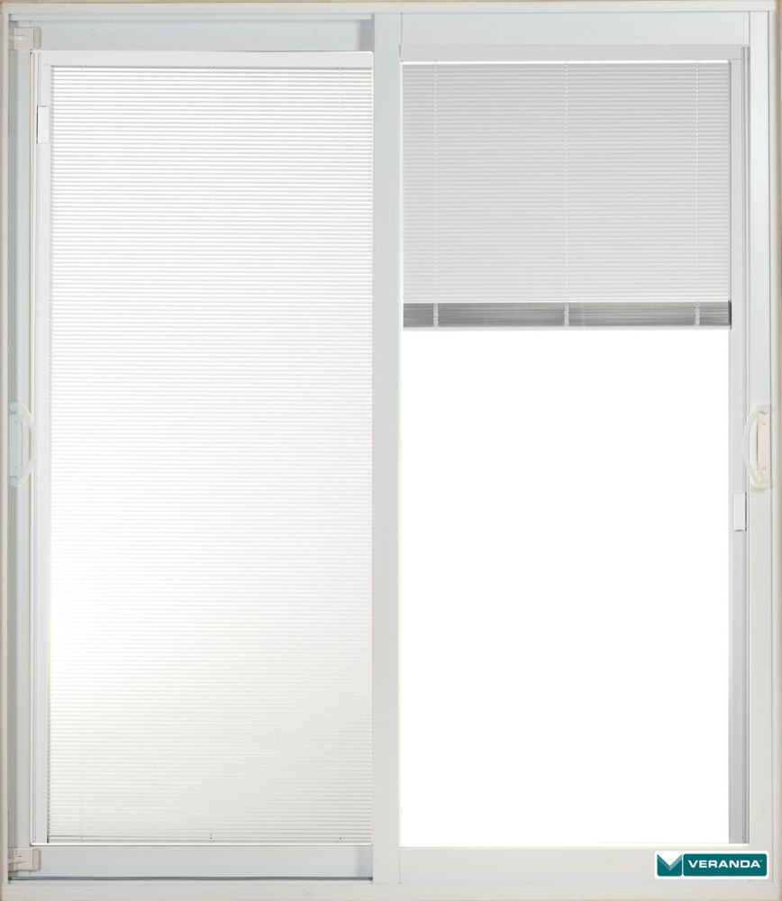 59.75 inch x 79.75 inch Clear LowE Prefinished White Double Sliding Vinyl Patio Door with 7-1/4 inch Jamb and Internal Mini Blinds - ENERGY STAR®