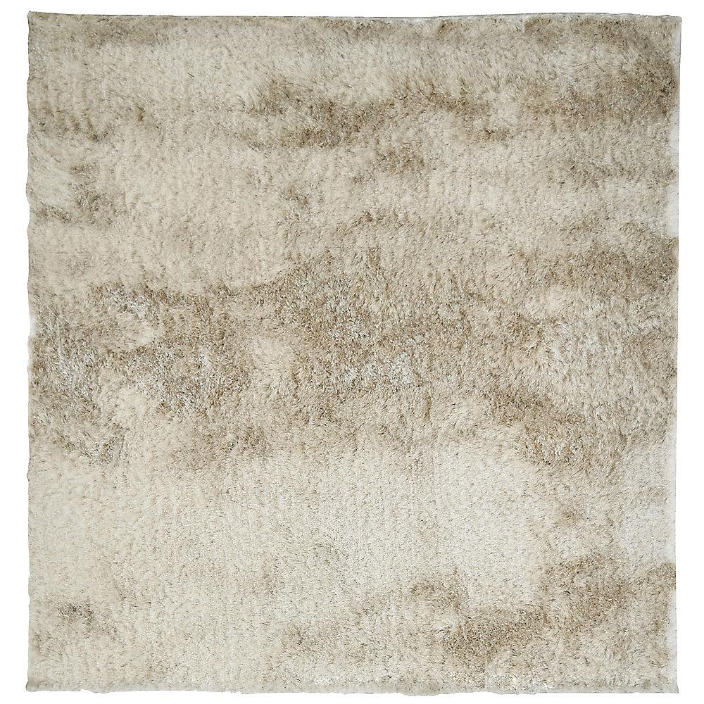 Carpette d'intérieur, 5 pi x 5 pi, à poils longs, carrée, So havane Silky
