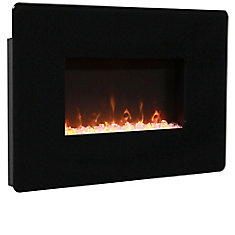 25 Inch Wall Mount Electric Fireplace - Black Glass