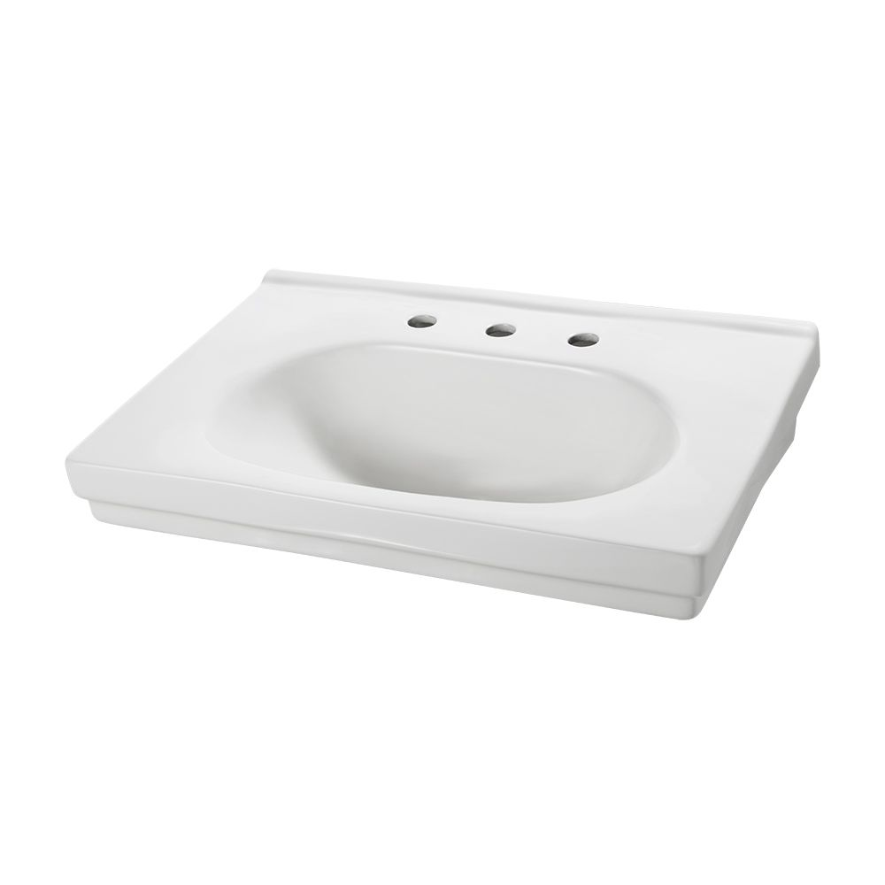 Structure series pedestal sink basin in white the home depot canada
