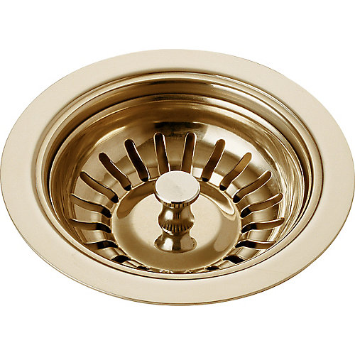 Classic Kitchen 4 Inch Sink Flange and Strainer in Polished Brass