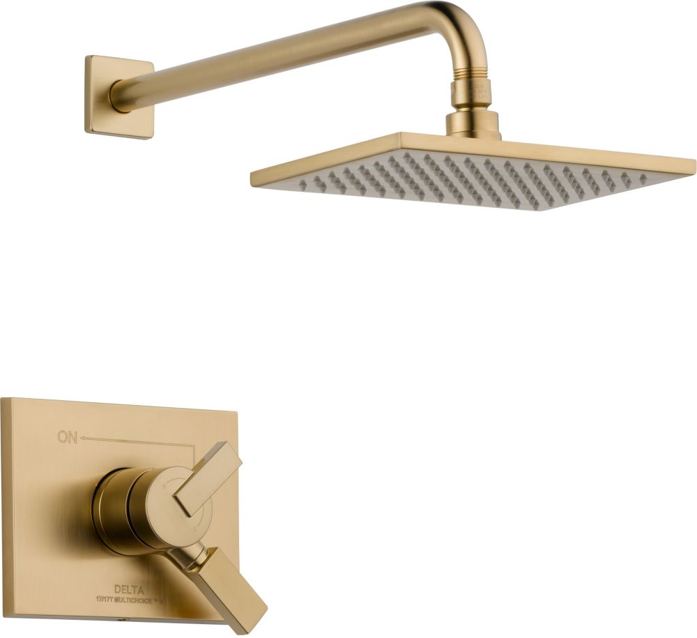 Vero - Garniture de douche averse de pluie, 1manette et 1jet, Champagne Bronze