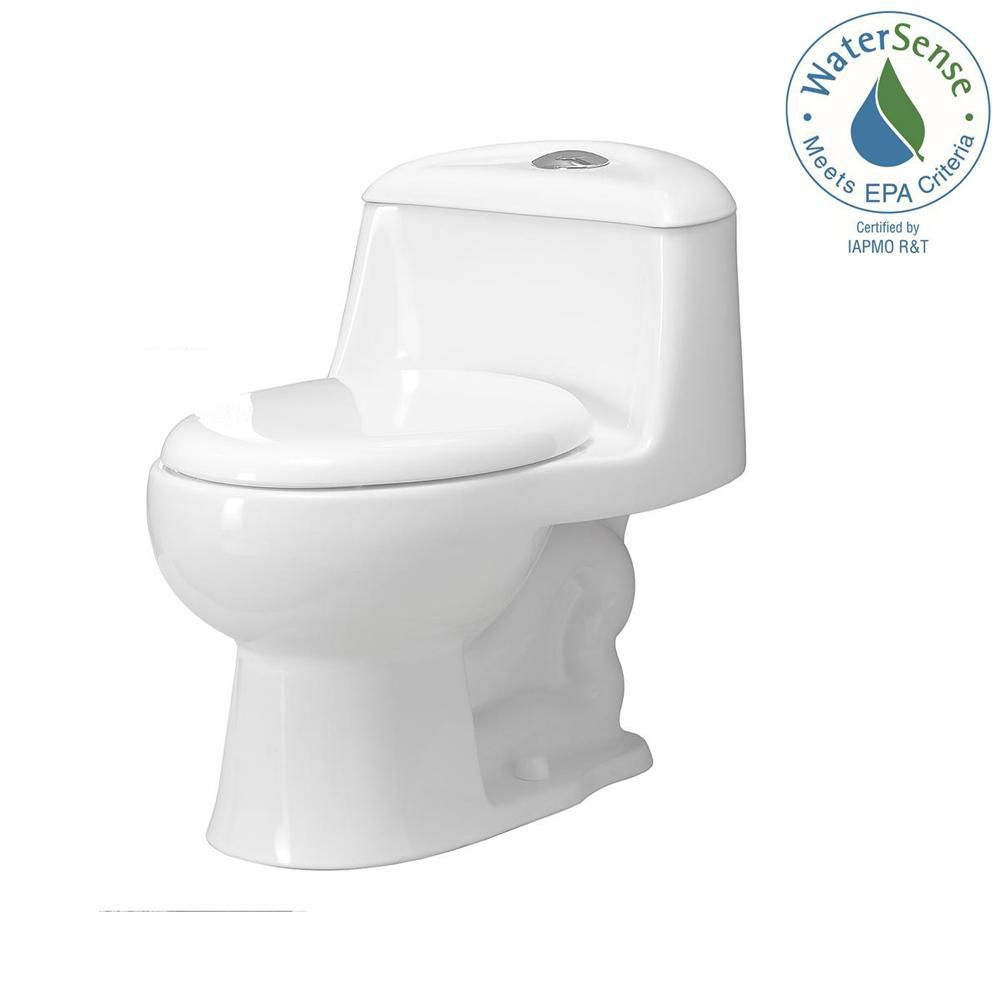 Gemini 1-Piece 1.6 GPF Dual Flush Round Bowl Toilet in White with Slow Close Seat