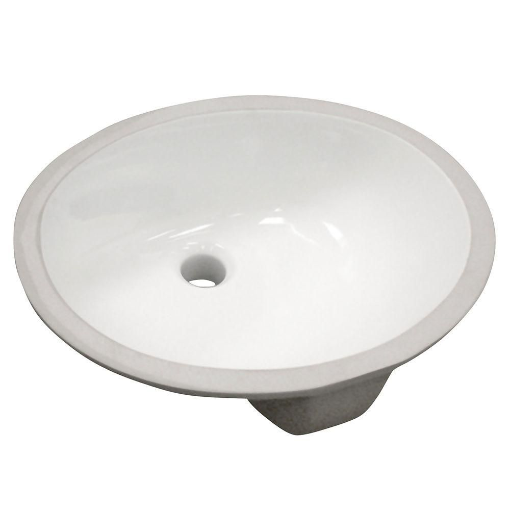 Oval Undermount Vitreous China Bathroom Sink in White