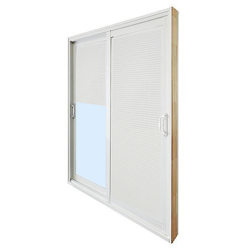 Veranda 59.75 inch x 79.75 inch Clear LowE Prefinished White Double Sliding Vinyl Patio Door with Internal Mini Blinds - ENERGY STAR®
