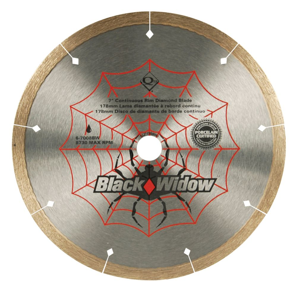 Black Widow 7-inch Porcelain, Ceramic, Marble and Granite Wet Cutting Diamond Blade