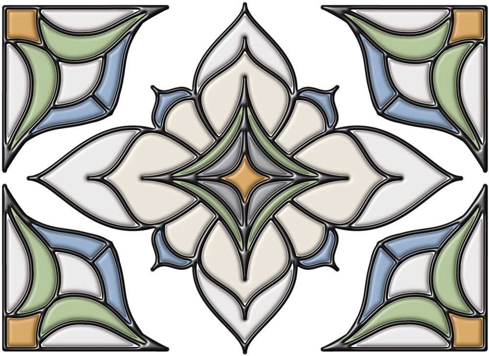 Stain Glass Applique with Caming Lines