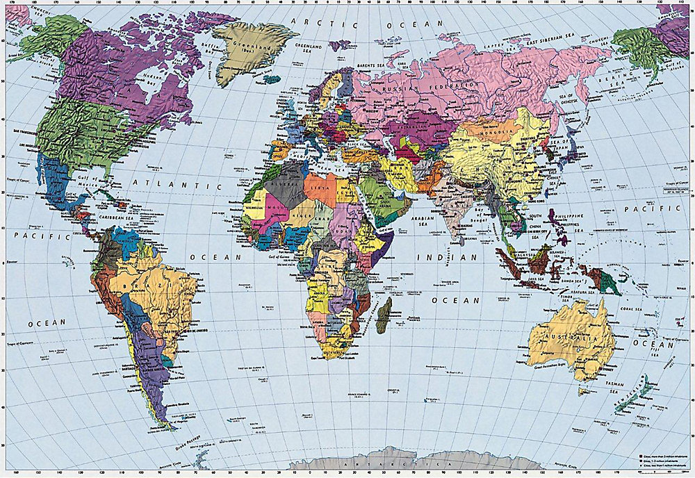 Map Of Canada On World Map.World Map Mural