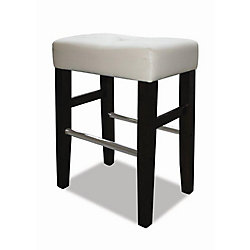 JR Home Collection Barcelona Wood Metal Black Backless Armless Bar Stool with White Faux Leather Seat (Set of 2)