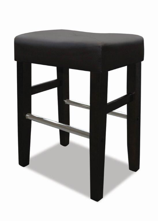 JR Home Collection Barcelona Leather Metal Black Backless Armless Bar Stool with Black Faux Leather Seat - Set of 2