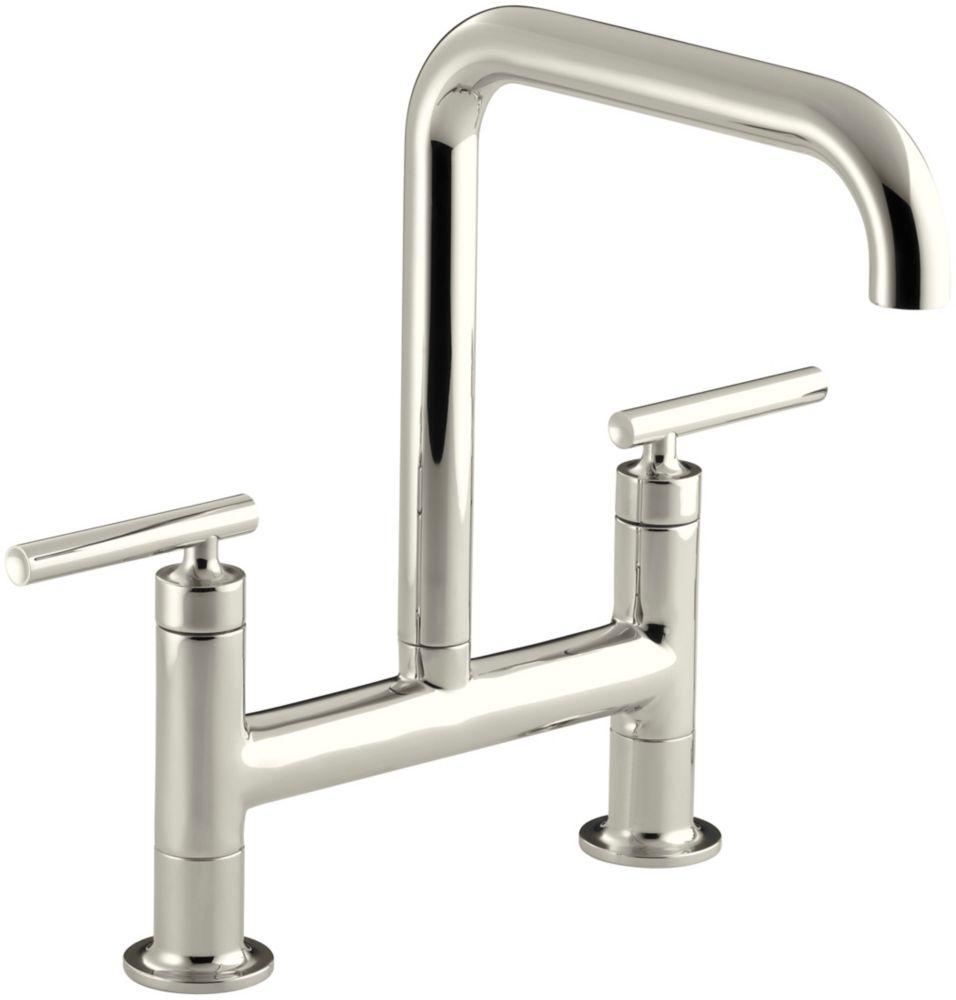 Purist Deck-Mount Bridge Faucet, Polished Nickel