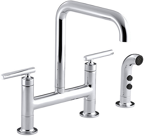 KOHLER Purist Deck-Mount Bridge Faucet, With Spray | The Home ...