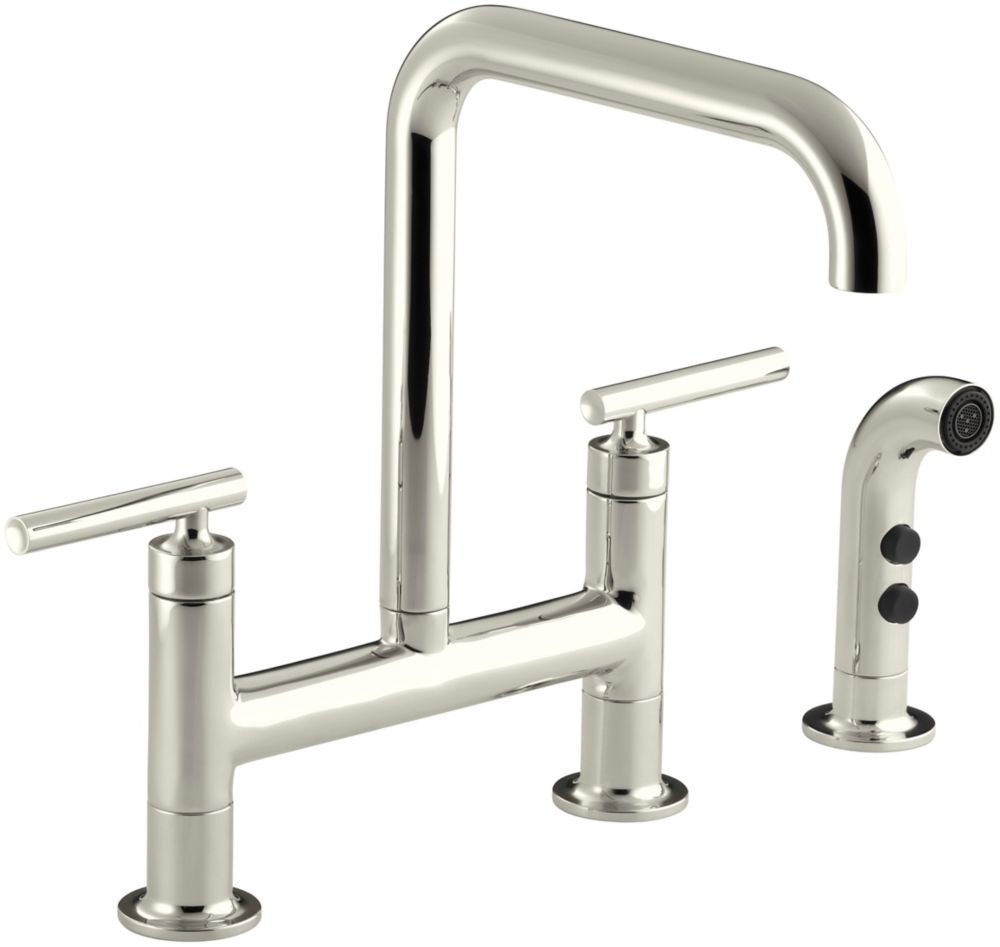 Purist Deck-Mount Bridge Faucet, With Spray K-7548-4-SN Canada Discount