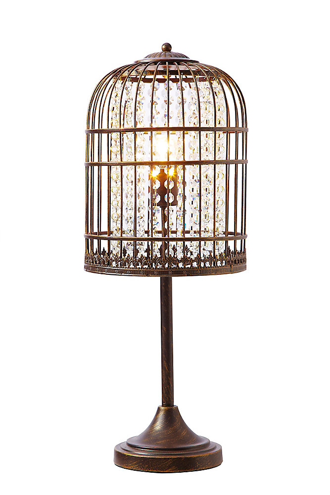 Coffee Brushed Gold Bird Cage Table Lamp