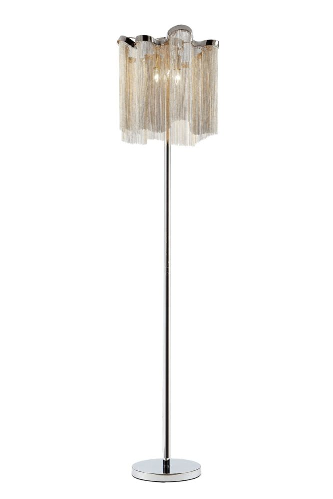 Century 61 Inch High Chrome & Chain 3 Light Floor Lamp