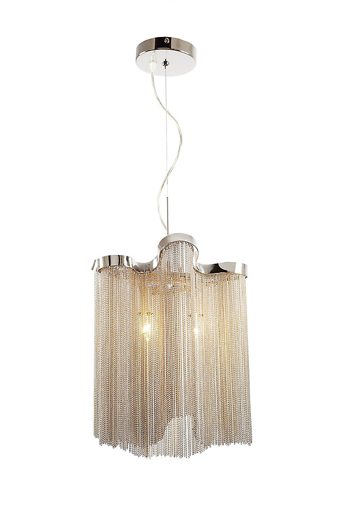 12 Inch Long 9 Inch Wide Chrome & Chain 2 Light Pendant