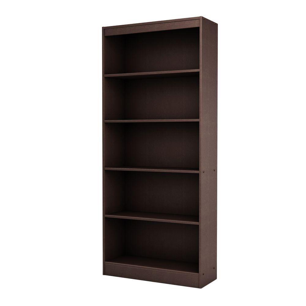 south shore freeport 5 shelf bookcase chocolate the home. Black Bedroom Furniture Sets. Home Design Ideas