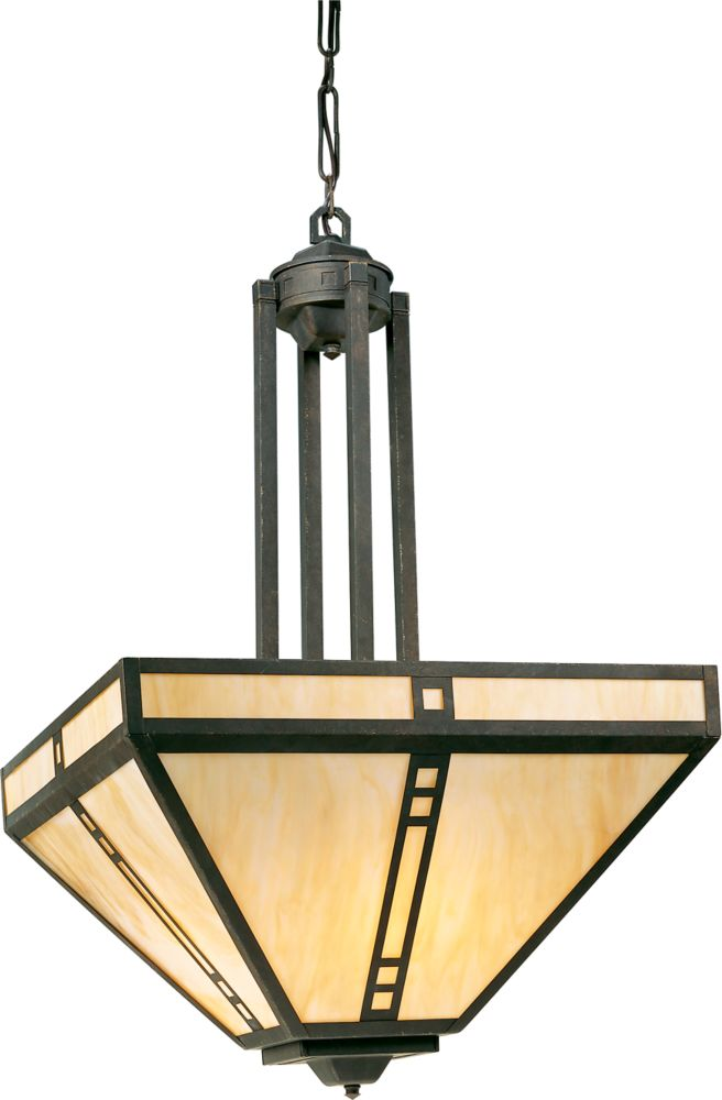 Arts and Crafts Collection Weathered Bronze 4-light Foyer Pendant