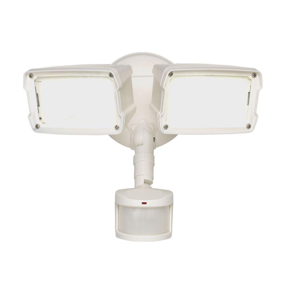 Petit projecteur de sécurité extérieur blanc à DEL, détecteur de mouvement, 180 degrés
