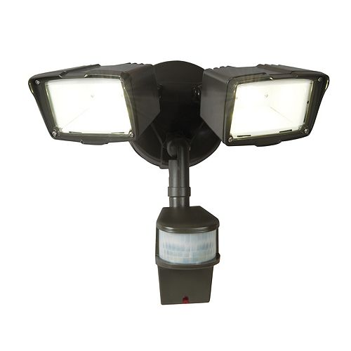 All-Pro 180 Degree Small Twin Doppler Motion Activated Outdoor Bronze LED Security Floodlight