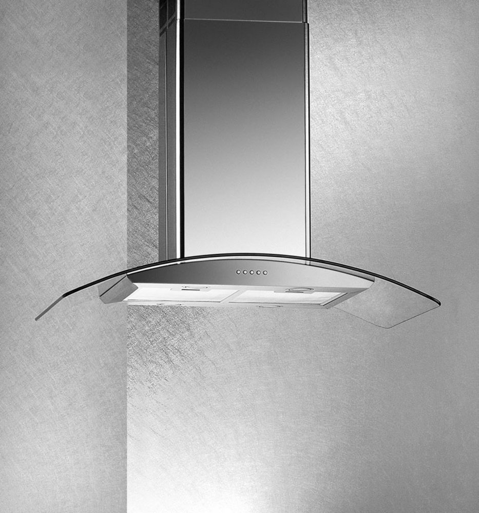 36-inch Tempered Glass Island Range Hood in Stainless Steel