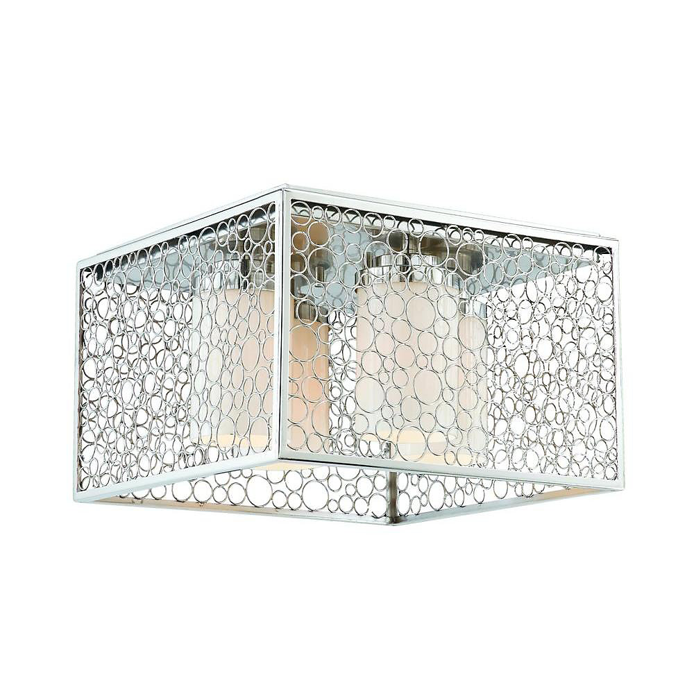 4 Light Pendant Chrome Finish Frosted White Glass