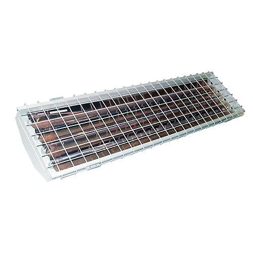 Luminaire pour grande hauteur à 4 tubes fluorescents T5 haut rendement avec réflecteur en aluminium et grille de protection
