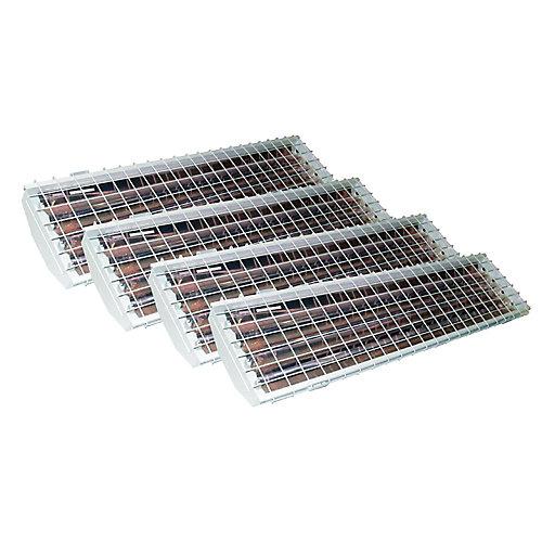 Emballage économique de luminaires pour grande hauteur à 4 tubes fluorescents T5 haut rendement avec réflecteur en aluminium et grille de protection
