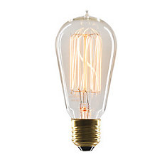 Marconi 40W E26 Vintage-Style Light Bulb with Clear Glass Filament