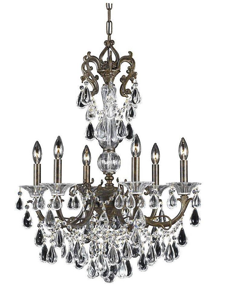 6 Light Chandelier Bronze Finish Crystal Drops