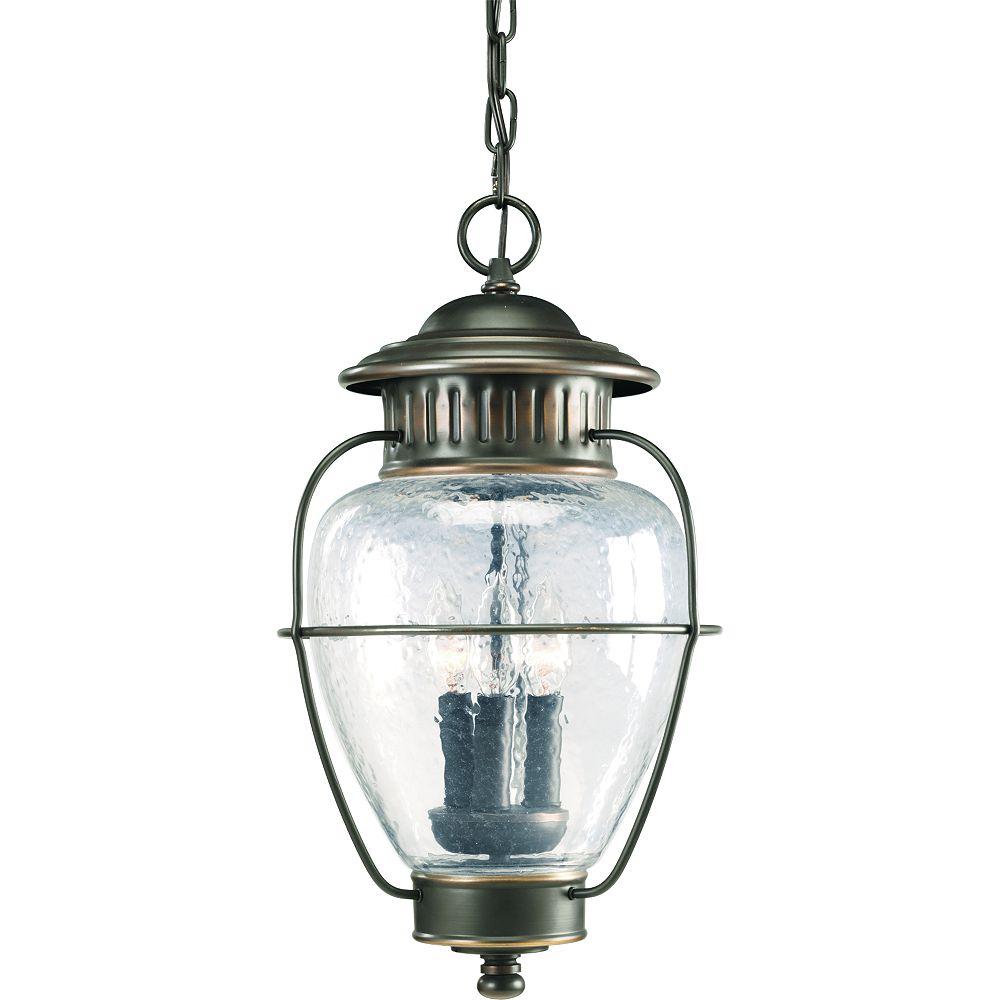 Progress Lighting Lanterne suspendue à 3 Lumières, Collection Nantucket - fini Bronze à l'Ancienne