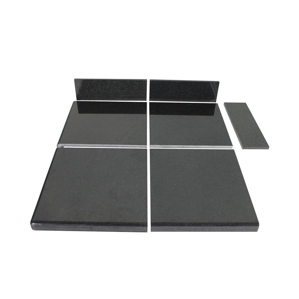 Modular Kitchen Tiles : TopStone Midnight Black Modular Kitchen Tile End Set  The Home Depot ...