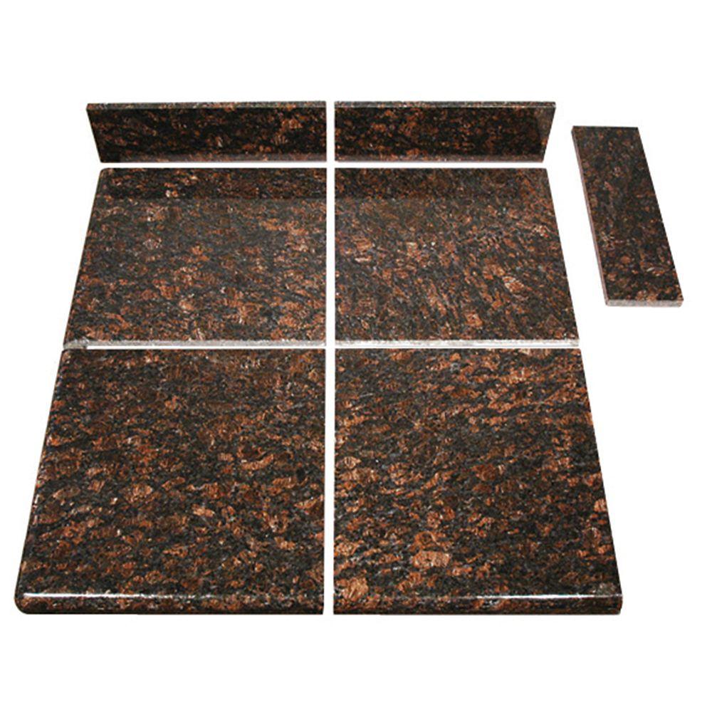 Tan Brown Modular Kitchen Tile End Set