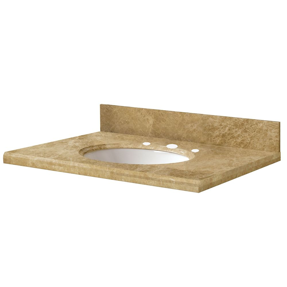 37-Inch W x 22-Inch D Marble Vanity Top in Light Emperador