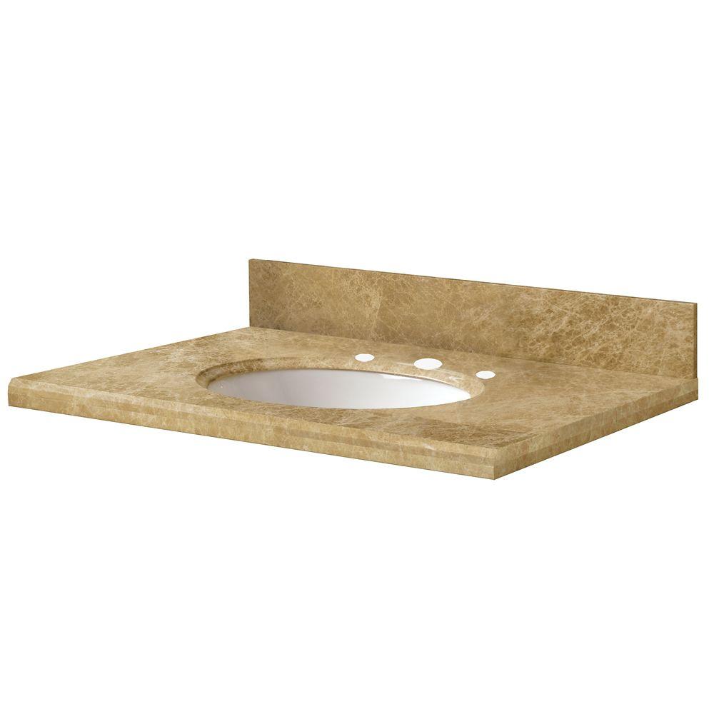 Revetements de comptoir pour meubles-lavabos de 124,5 cm x 55,9 cm en marbre emperador clair
