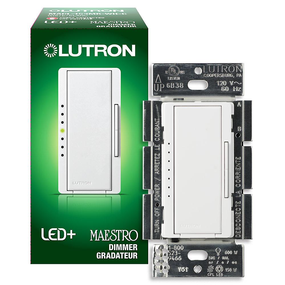 Maestro 150 Watt Single Pole 3Way or Multi Location Digital CFL LED Dimmer - White